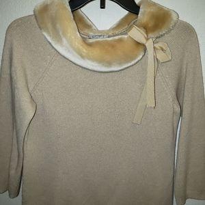 Ann Taylor Loft sweater with faux fur neck line